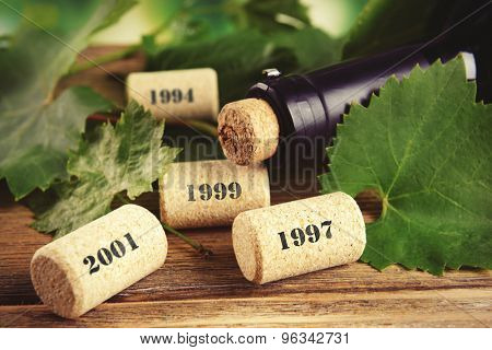 Wine bottle corks on table close-up