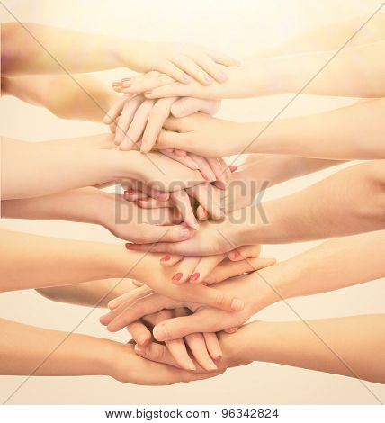 Young people's hands, close up