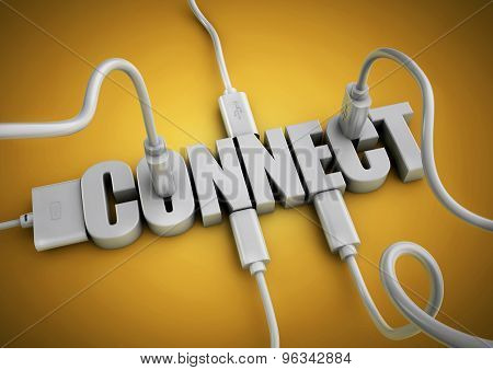 Computer Cables And Plugs Attach To 3D Text Title Connect.