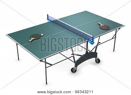 Table Tennis With Tennis Rackets And A Ball On It.