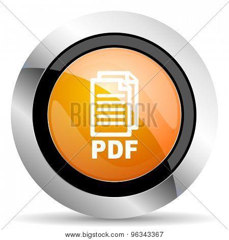 pdf orange icon pdf file sign