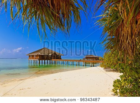 Spa saloon on Maldives island - nature travel background