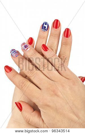 Finger nail with pattern isolated on white background