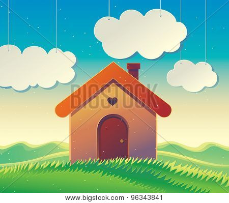 House on the hill, vector illustration of a hilly landscape with a country house in cartoon style.