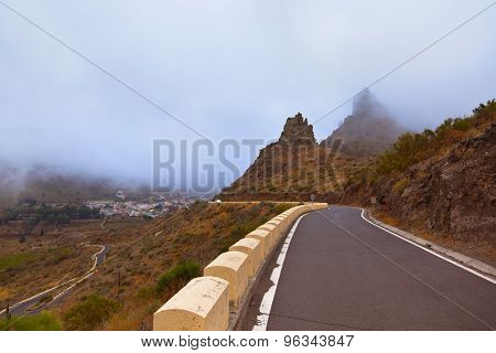 Famous canyon Masca in fog at Tenerife island - Canary Spain