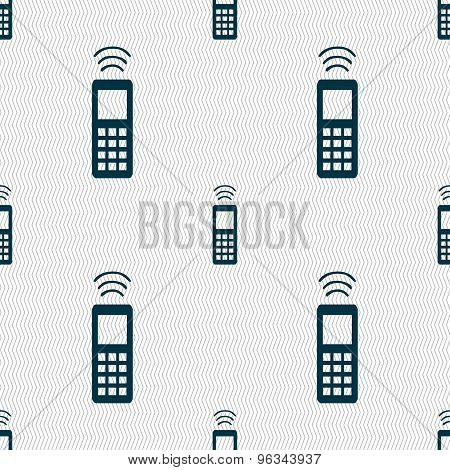 The Remote Control Icon Sign. Seamless Pattern With Geometric Texture. Vector