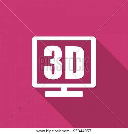 3d display flat design modern icon with long shadow for web and mobile app