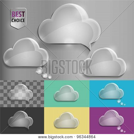 Glass speech bubble cloud icons with soft shadow on gradient background . Vector illustration EPS 10