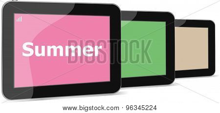 Summer Word On Tablet Pc Screen, Holiday Concept
