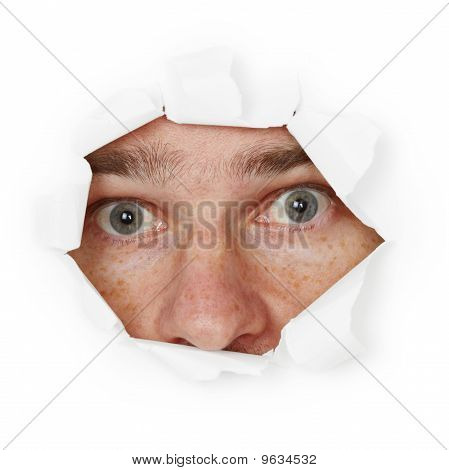 Scared Person Hiding In Hole