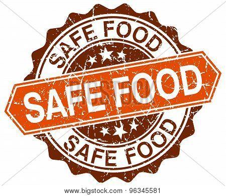 Safe Food Orange Round Grunge Stamp On White