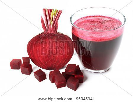 Fresh beet juice isolated on white