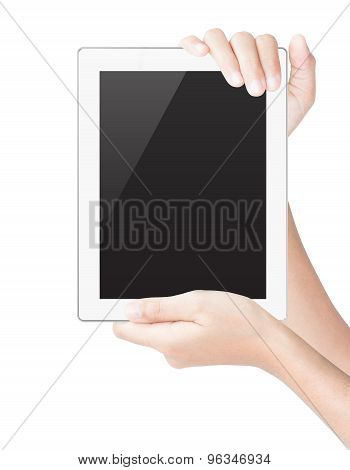 Hand Hold Tablet Digital Isolated White Clipping Path Inside