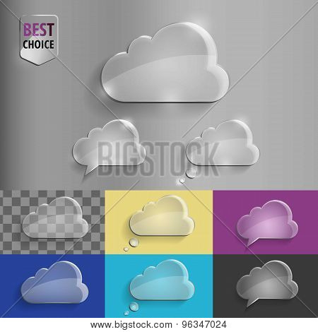 Collection of glass speech bubble cloud icons with soft shadow on gradient background . Vector illus