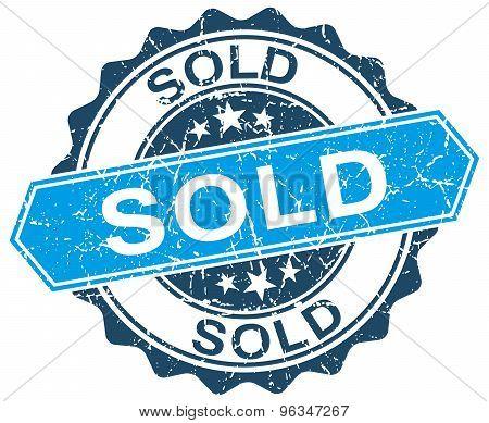 Sold Blue Round Grunge Stamp On White