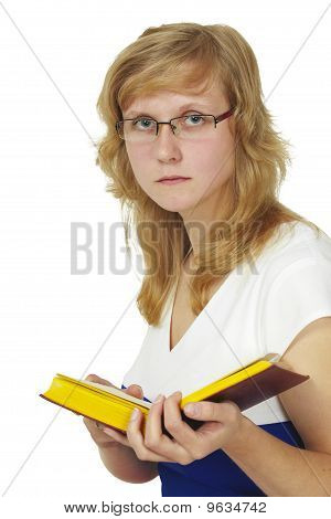 Woman Wearing Spectacles Reads Book