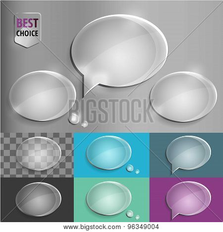 Oval glass speech bubble icons with soft shadow on gradient background . Vector illustration EPS 10