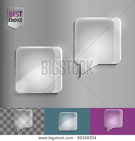 Square glass speech bubble icons with soft shadow on gradient background . Vector illustration