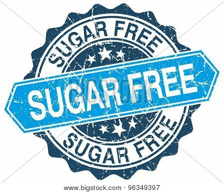 Sugar Free Blue Round Grunge Stamp On White
