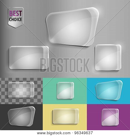 Rectangle and square set of glass shape icons with soft shadow on gradient background . Vector illus