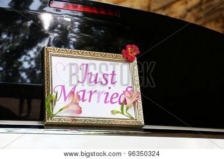 Beautiful wedding car outdoors