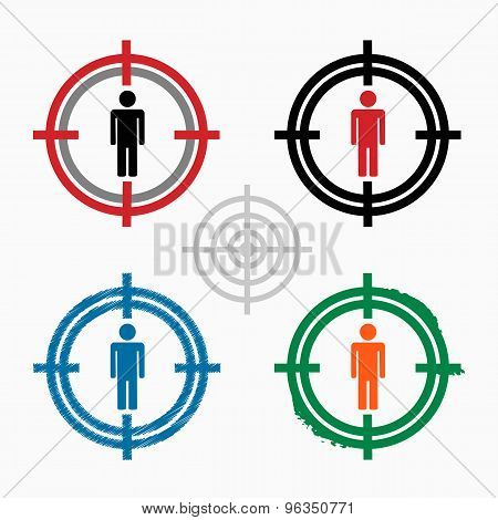 Male Icon On Target Icons Background