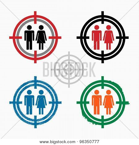 Male And Female Sign On Target Icons Background.