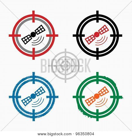 Satellite Icon On Target Icons Background