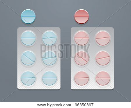 Vector blue and red round pills in blister packs, eps10