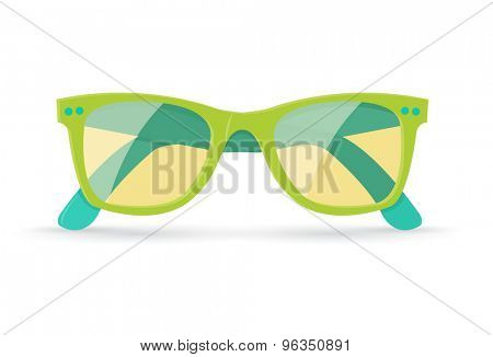 Vector illustration of bright summer sunglasses, isolated on white background, eps10