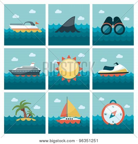 Summer flat icons set