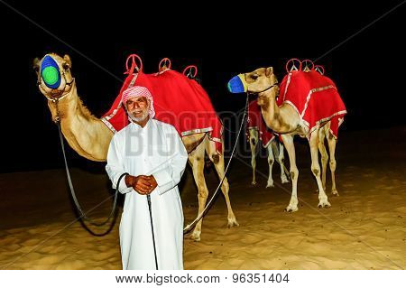 Bedouin Standing In Front Of His Camel In The Arabian Desert