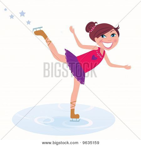 Winter holidays: Young girl training figure skating on ice