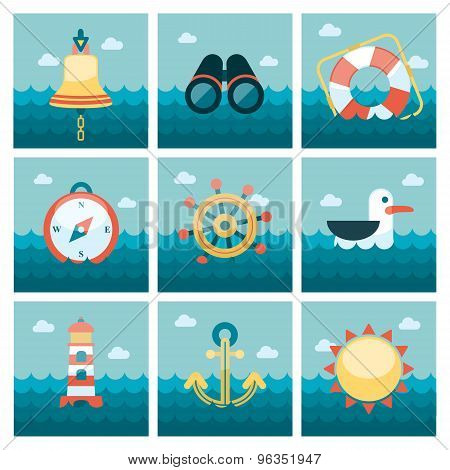 Marine flat icons set