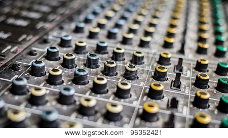 Details Of A Mixing Console With Many Adjustment Possibilities