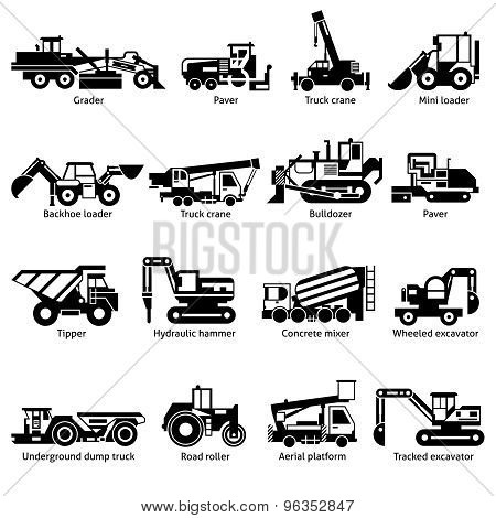 Construction Machines Black White Icons Set