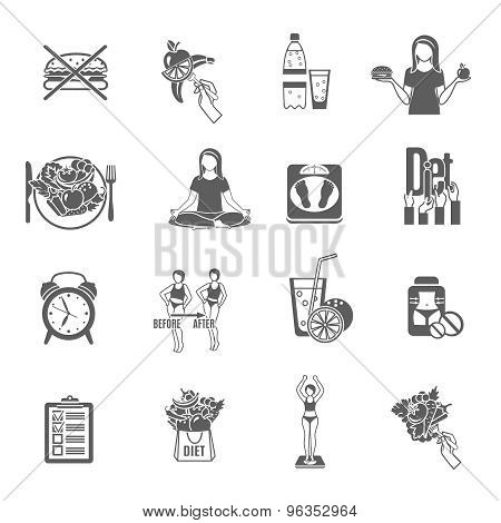 Weight loose diet black icons set