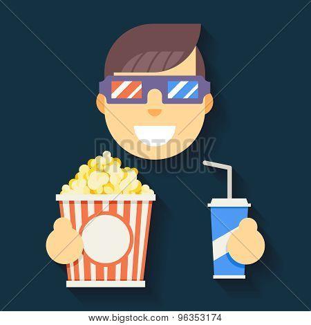 Male Guy Man Boy Character Cinema 3D Glasses Big Popcorn Soda Water Flat Design Icon Vector illustra