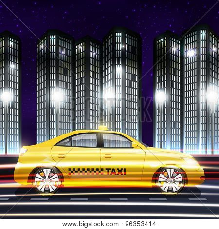 Taxi In City Background