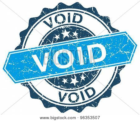 Void Blue Round Grunge Stamp On White