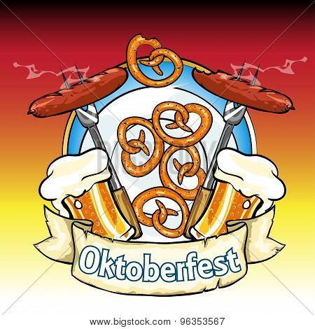 Oktoberfest Label With Beer, Pretzels And Sausages.