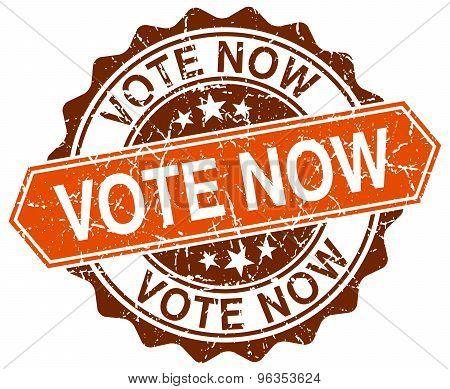 Vote Now Orange Round Grunge Stamp On White