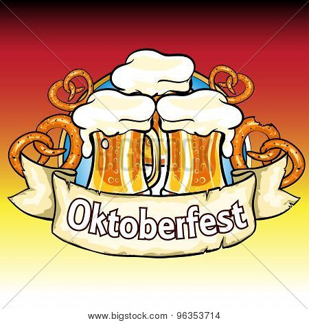 Oktoberfest Label With Beer And Pretzels.