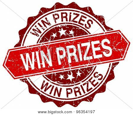 Win Prizes Red Round Grunge Stamp On White