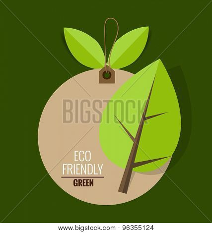 Nature banner. Ecology concept with tree background. Vector illustration.