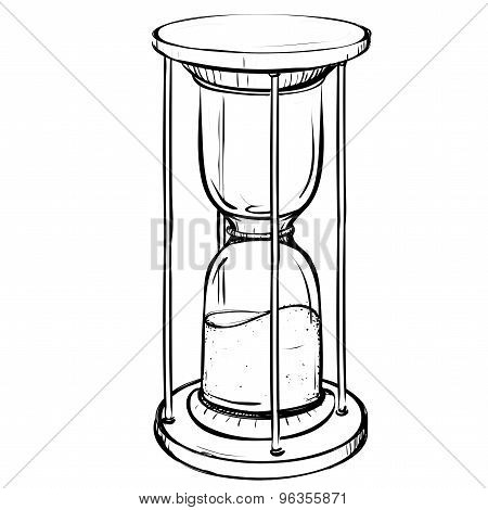 Vector Illustration Of Retro Sand Clock Made In The Thumbnail Style
