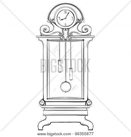 Vector Illustration Of A Mechanical Watch Made In Retro-style Thumbnail