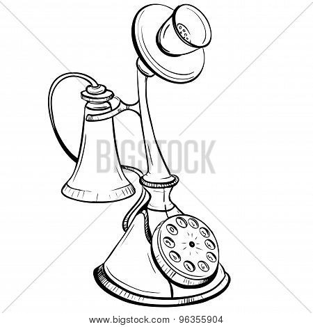 Vector Illustration Of Disk Desktop Phone Executed In A Retro Style Thumbnail