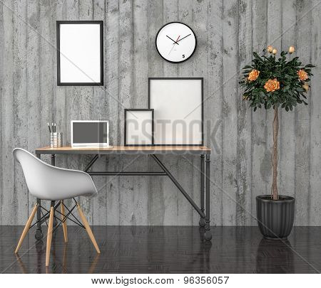 Poster Mock Up, Work Desktop, With Laptop, 3D Illustration