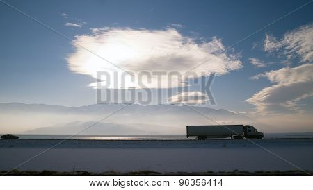 Long Haul Over The Road Freight Trucking Winter Highway
